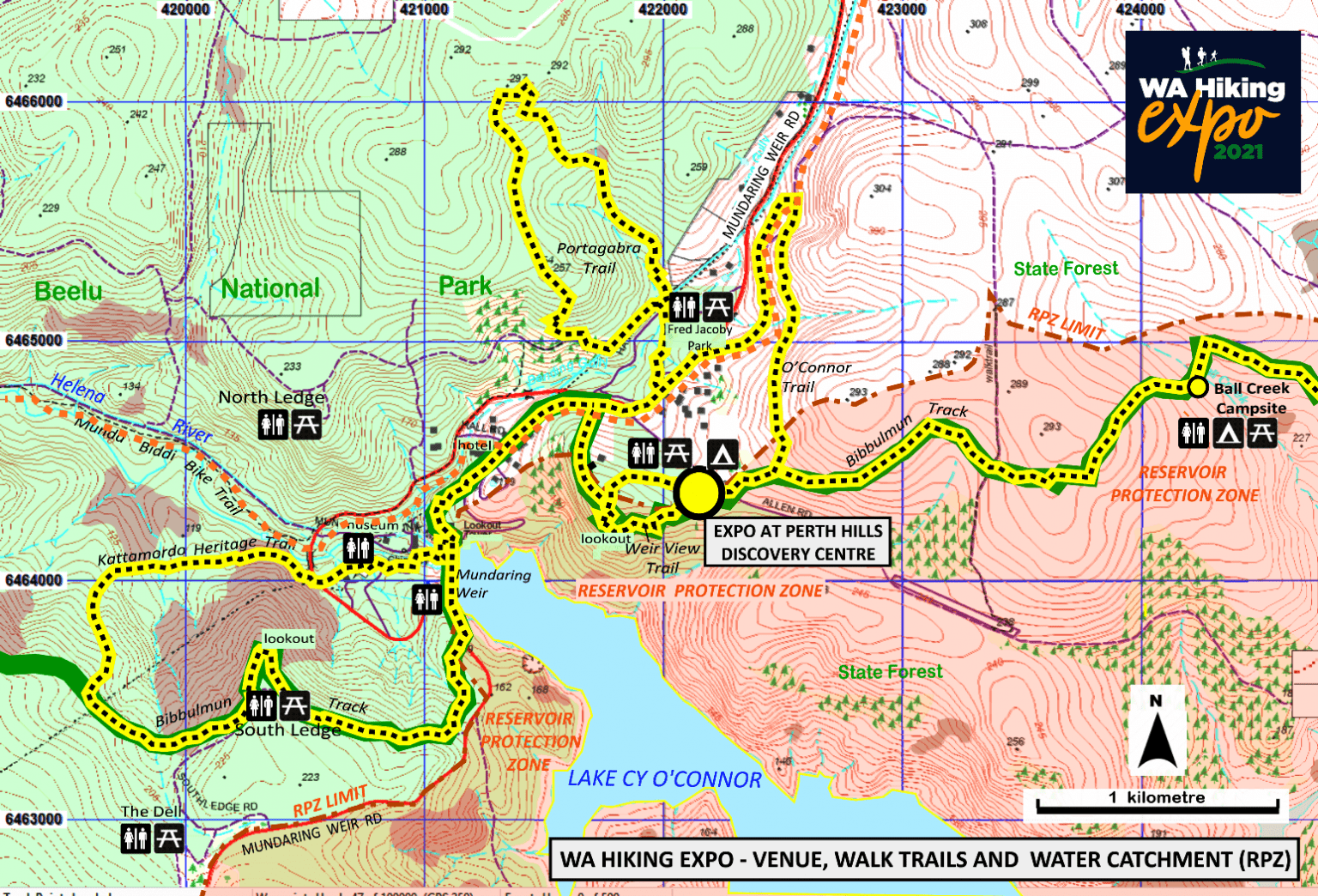 Hiking Expo Trails and Water Catchment Overview Map 2021 HikeWest redn